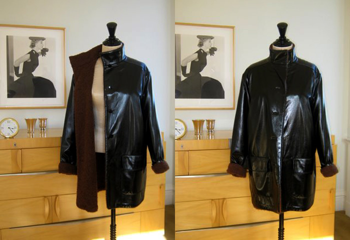 Geoffrey Beene black rubber rain jacket with wool lining