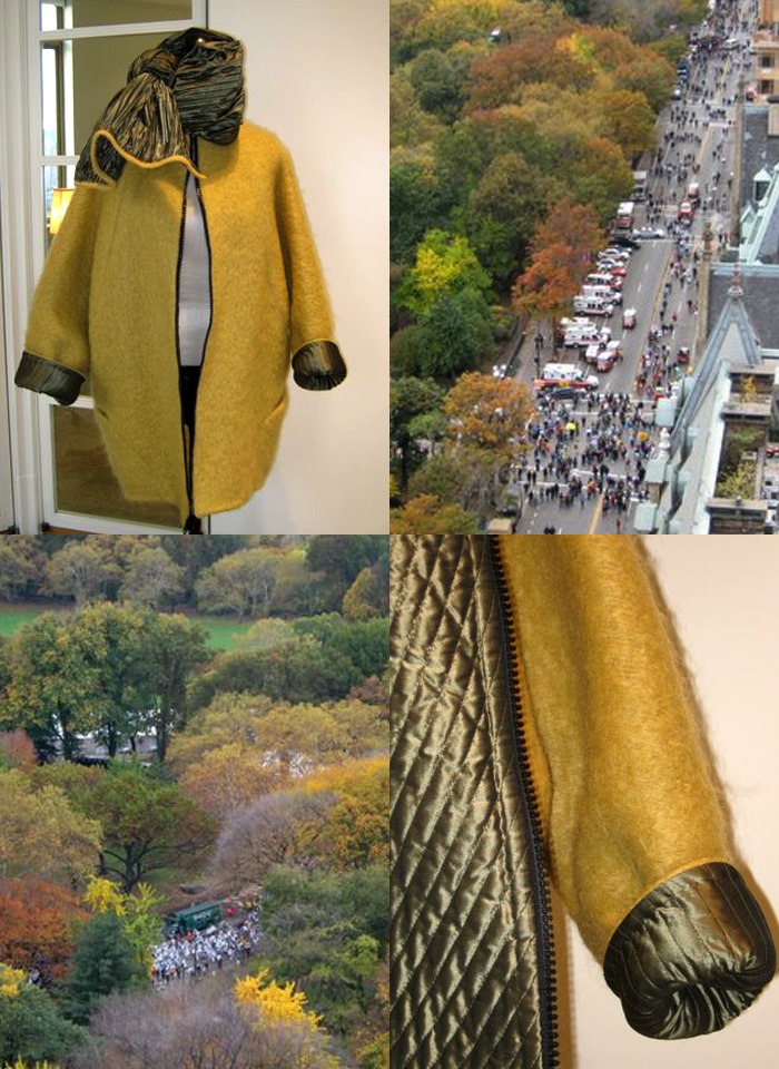 Geoffrey Beene gold mohair wool coat with quilted silk lining and matching silk scarf