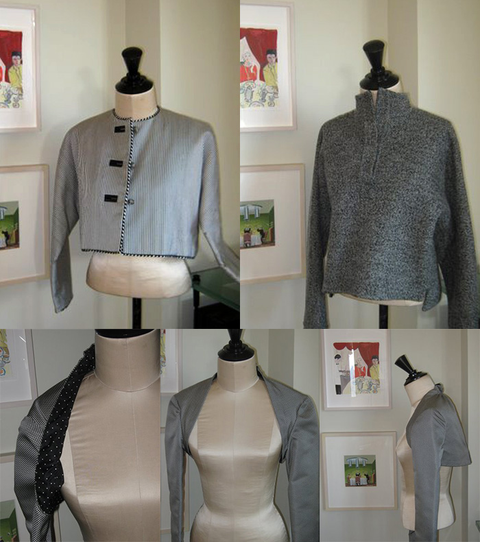 Geoffrey Beene jackets and shrugs of wool and silk, inspired by menswear details