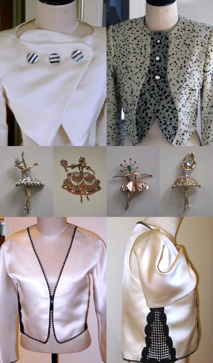 White jackets showing examples of Geoffrey Beene's wide range of tones within a limited range  of form and color. Ballerina pins are all vintage.