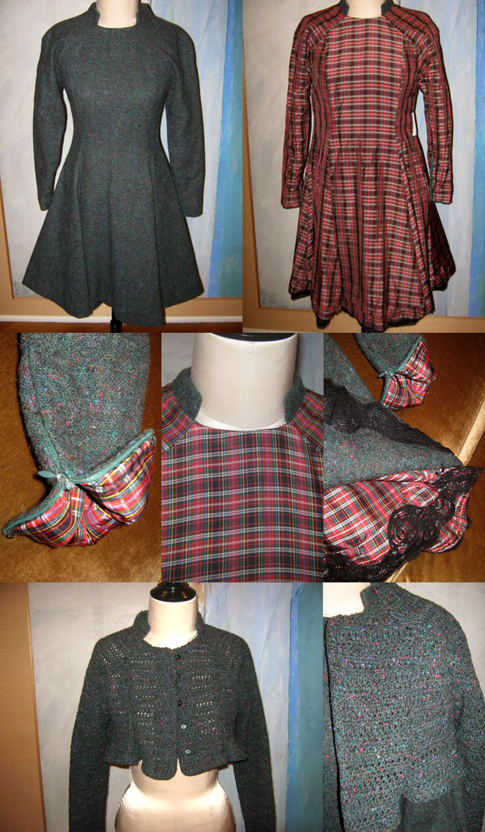 A Geoffrey Beene wool dress, fully lined with a plaid lining well-made enough to be worn as a dress itself.
