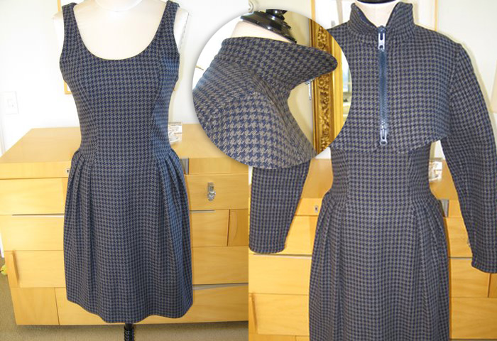 Geoffrey Beene grey houndstooth dress with matching bolero