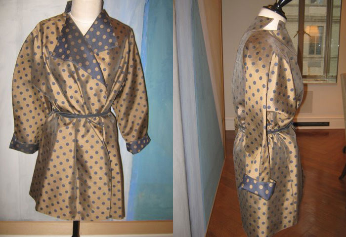 Geoffrey Beene gold and purple silk shirtdress and belt with inverted lining
