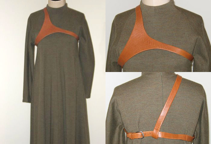 Geoffrey Beene olive wool dress with complementary leather harness.