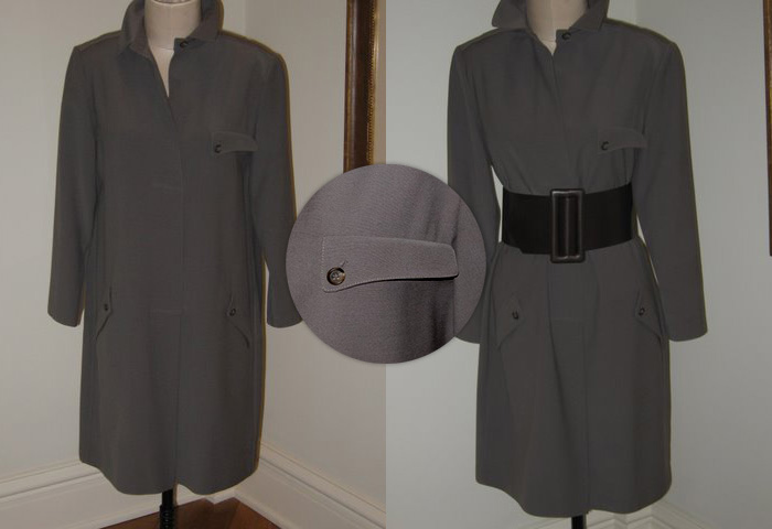 Geoffrey Beene military-inspired wool coat with wide belt.