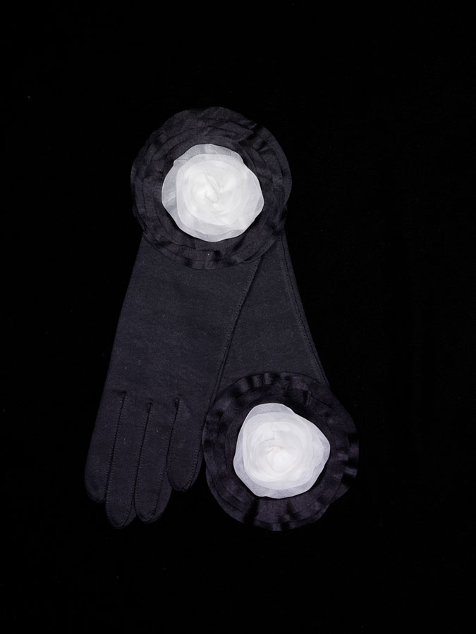 Geoffrey Beene black cotton gloves with embroidered silk organza roses