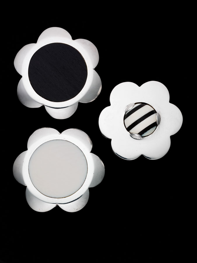Geoffrey Beene sterling silver pin set with ebony and ivory in collaboration with Patricia Van Musling