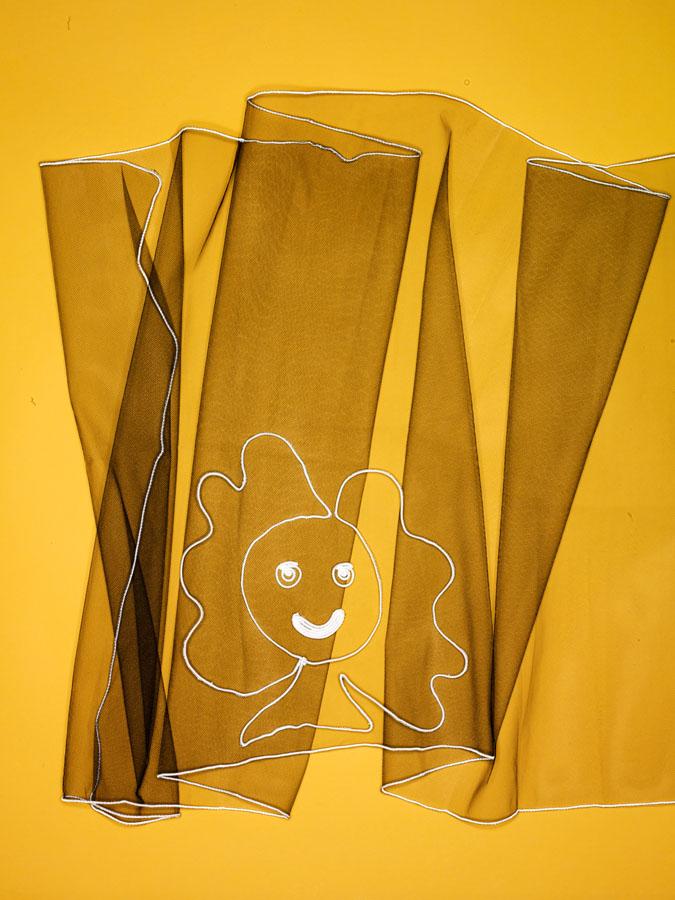 Geoffrey Beene embroidered Flora Dora scarf