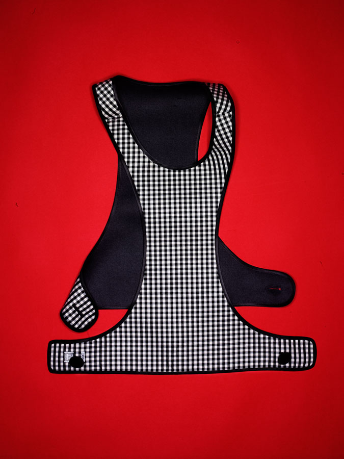 Geoffrey Beene black and white gingham vest with side buttons.