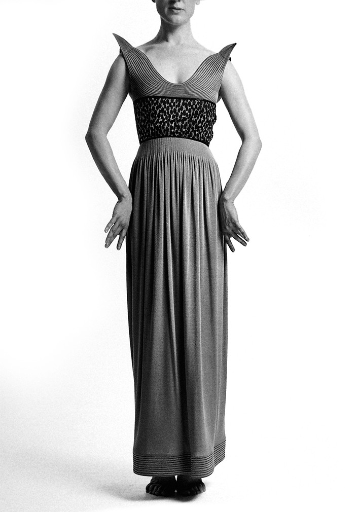Geoffrey Beene Evening Gown with Trapunto-Stitched Lyre Neckline above Midriff of Silver and Black Jacquard