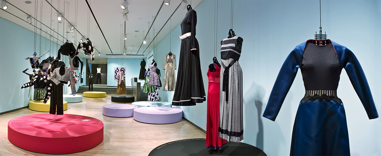 Installation View of Geoffrey Beene: Trapeze at the Phoenix Art Museum, featuring Mr. Beene's works created for this wardrobe.
