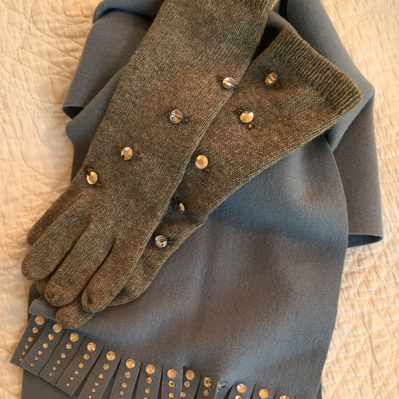 Geoffrey Beene grey cashmere scarf and gloves embellished with crystal.