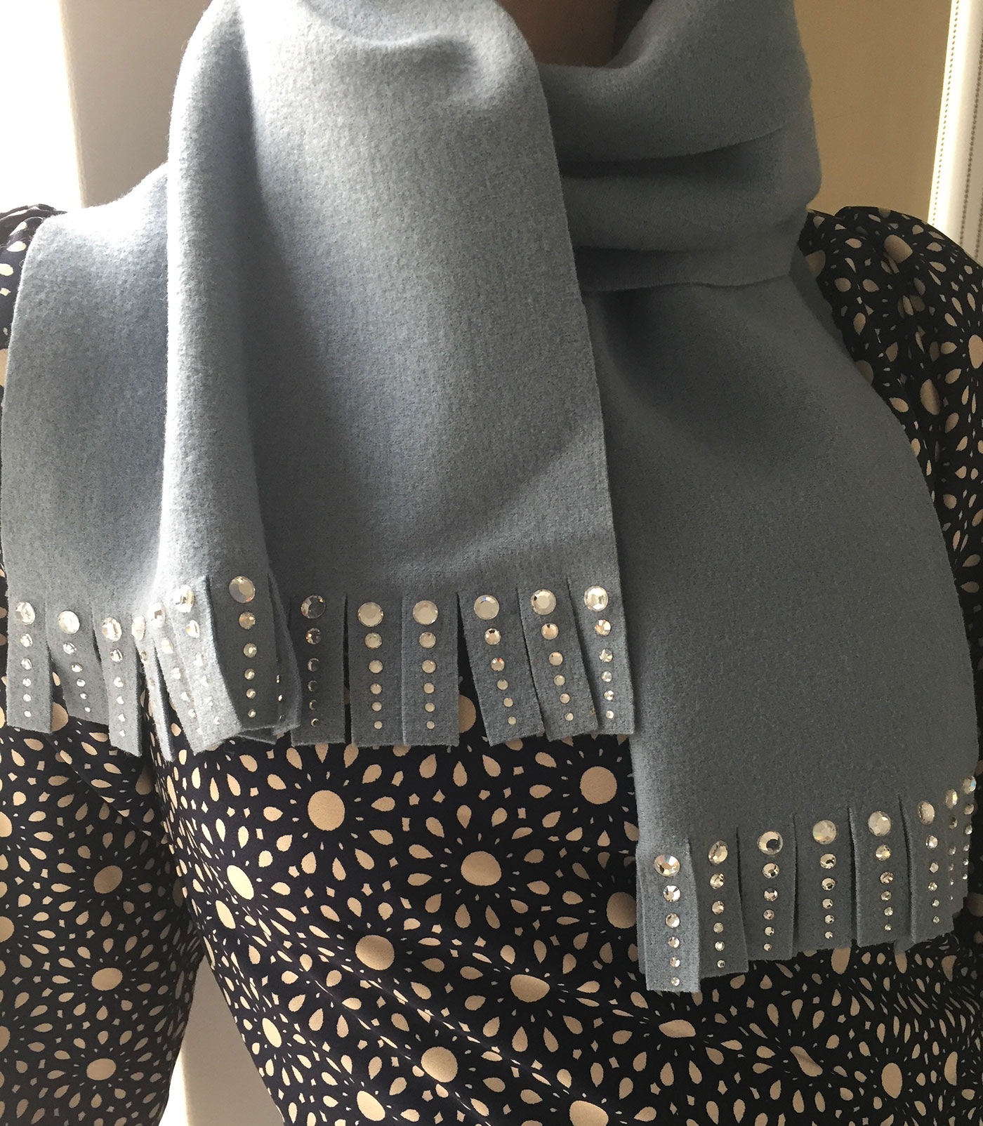 Geoffrey Beene grey cashmere scarf embellished with crystal.